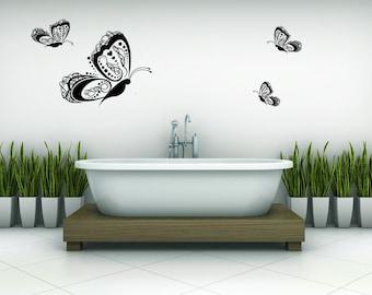 Butterfly Decal, Butterfly Decor, Butterly Decorations, Butterflies, (Set of 4), Home Decor, Childrens Wall Art, Nursery Artwork Heart Decal