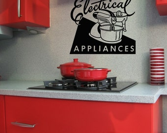 Gifts for Bakers, Kitchen Wall Art, Cute Decor, Wall Decal, Electrical Appliances, Retro Ad, Blender, Kitchen Decal, Restaurant Decor, Bake