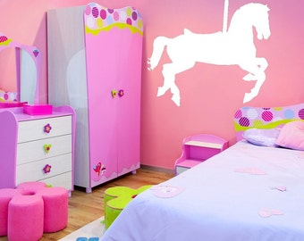 Carousel Horse, Circus Decor, Carnival Decor, Girls Bedroom Decal, Kids Wall Decor, Playroom Decal, Horse Decal, Carousel Decal, Wall decal
