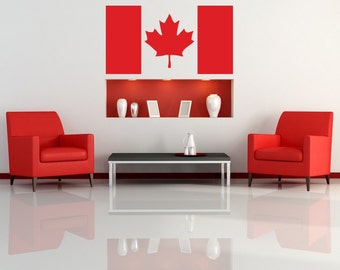 Canadian Flag, Oh Canada, Maple Leaf Wall Decal, Home Room Decor, Patriotic, Pride, North America, International Flag, Domestic Artwork