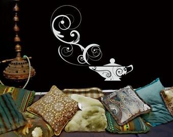 Genie Lamp, Arabic Wall Art, Arabic Decor, Arabic Decal, Genie Bottle, Arabian, Aladdin Lamp, Kids Bedroom Decor, Wall Art, Wall Decal