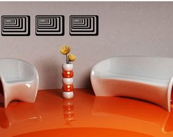 Retro Rectangle Medallion, 3D, Set of 3, Dimensional,  Retro Decal, Home Wall Art, Wall Decor, Bedroom Decal, Vinyl Sticker, Wall Vinyl