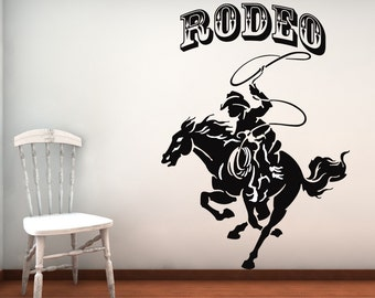 Rodeo, Horse Decal, Horse Decor, Cowboy Wall Art, Cowboy Decor, Cowboy Decal, Rodeo Sign, Calf Roping, Rope, Kids Room Decor, West, Western