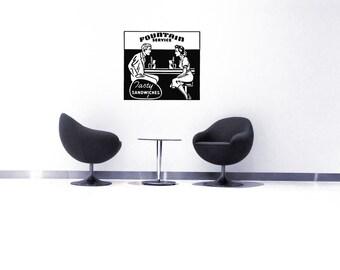 Restaurant Decor, Retro Ad, Wall Decal, Diner Wall Art, Kitchen Decal, Sticker, Vinyl, Home, Restaurant, Kitchen Decor,  First Date, Bistro