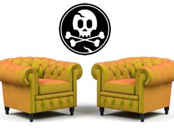 Skull and Crossbones, Skull Art, Skull Decor, Skull Decal, Medallion, Halloween Deocrations, Gothic, Home Decor, Holiday Art, Bedroom Decor