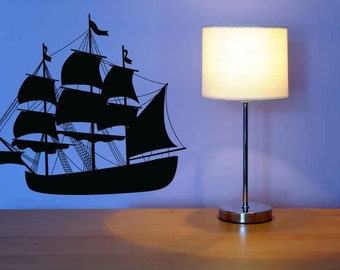 Pirate Ship Art, Wall Decal, Sailboat Decor, Pirate Ship, Sailing Gift, Sailing Decor, Boat, Sticker, Vinyl, Home, Kid's Bedroom, Navy Decor