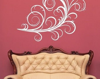 Feather Decor, Swirl Decal, Home Wall Art, Flourish, Feather Decal, Swirl Decor, Sticker, Vinyl, Wall, Home Decor, Victorian, Bedroom Decor
