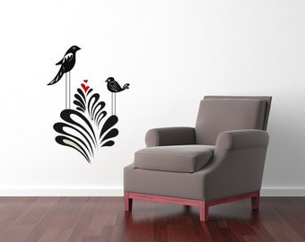 Whimsical Birds, Nursery Art, Love, Branches, Heart, Branch, Bush, Plant, Sticker, Home Decor, Vinyl Decor, Bedroom Decal, Hearts, Bird