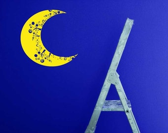 Moon Wall Decal, Moon Art, Moon Decor, Whimsical, Polka Dots, Circles, Decal, Sticker, Vinyl, Wall, Home, Kid's Bedroom Decor