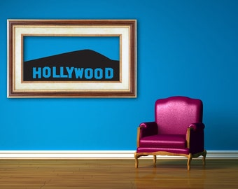 HOLLYWOOD, Skyline Decal, Hollywood wall art, Hollywood Decorations, Wall Sticker, California, Vinyl, Wall Decal, Home, Studio, Dorm Decor