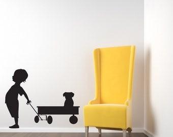 Boy, Red Wagon, Puppy Decal, Dog Wall Art, Toddler Wall Art, Kids Room Decor, Sticker, Vinyl, Wall, Home, Daycare, Playroom, Nursery Decor