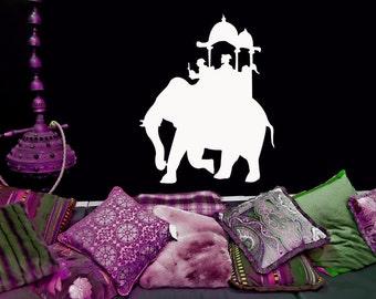 Elephant Caravan, India, Indian Decor, Middle East, Eastern, Wall Art, Vinyl Sticker, Nursery Decal, Home, Office Decor, Parade, Circus