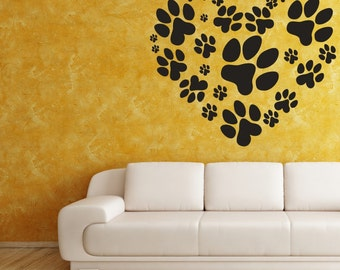 Animal Decal, Heart Decal, Paw Print Decal, Animal Decor, Paw Print Heart, Animal Shelter Decor, Veterianarian Decor, Dog Decal, Cat Decal