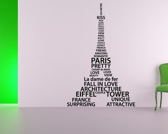Paris Decor, Eiffel Tower Decor, Word Cloud Decal, Paris Decal, French Decor, Romantic Decals, Home Art,Tween Room Decor, Childrens Wall Art