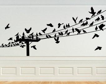 Bird Decal, Birds on a Wire Wall Art, Bird Decor, Birds on Wire, Birds in Flight, Bird Decoration, Home Wall Art, Bird Design, Wall Decal