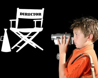 Theater Room Decal, Director's Chair, Directors Chair, Director Gifts, Megaphone, Wall Decal, Movie Decor, Theater Room Decor, Bedroom Decor
