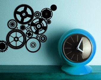 Cogwheels, Gears, Gear Decor, Clock, Wall Decal, Unique Decor, Clockwork, Sticker, Vinyl, Wall Art, Home Decor, Office Wall Art, Den Decor