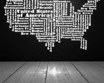 USA Decal, USA Decor, USA Word Cloud, United States of America, Wall Decal, Vinyl Sticker, Vinyl Decals, Wall Art, Home Decor, Office Decor
