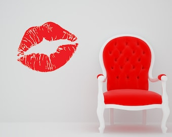 Lips Print, Lipstick, Lip Wall Decal, Home Art, Kiss, Pucker Up, Lip Gloss, Stick Decal, Sticker, Vinyl, Tween, Teen, Home, Bedroom Decor