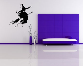 Witch Decor, Witch Decal, Witches Hat Art, Broom, Witch Hat, Halloween Decorations, Wicked Decor, Halloween Decal, Wall Art, Gothic Decor