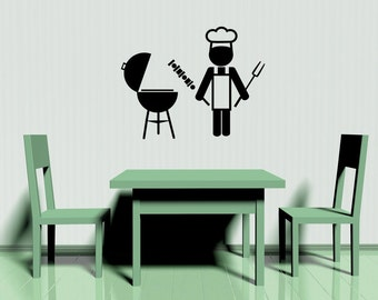 Barbeque Sign, BBQ Grill, BBQ Decor, Chef Decor, Chef Decal, BBQ Decorations, Restaurant Decor, Bar Decor, Kitchen Decor, Wall Decal, Art