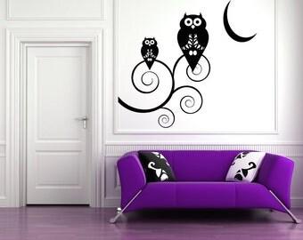 Halloween Decorations, Cute Owls, Nursery Wall Art, Curly Branches, Moon Vinyl Sticker, Owl Decor, Branch Decal, Bird, Birds, Owl Feather