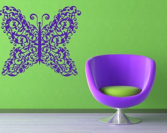 Ornamental, Scroll, Baroque, Butterfly Wall Decal, Nursery Art, Swirl, Victorian Vinyl Sticker, Home, Bedroom, Kids Room, Childrens, Daycare