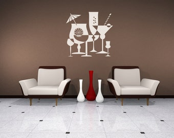 Cocktails, Negative, Positive Space, Martini, Mixed Drink, Alcohol Artwork, Bar Decal, Vinyl Sticker, Kitchen Wall, Home, Restaurant Decor
