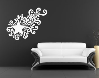 Star Decals, Star Swirl, Shooting Star Stickers, Outer Space Decor, Outer Space Wall Decal, Childrens Wall Art, Nursery Decor, Home Decor