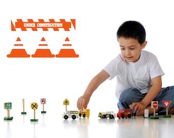 Construction Sign, Safety Cones, Road Work, Construction Decals, Construction Decor, Wall Decal, Boys Room Decor, Playroom Decor, Kids Decor
