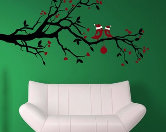 Christmas Branch, Xmas Branches, Santa Love Birds Wall Decal, Leaves, Leaf Decorations, Ornament Wall Art, Heart Home Artwork, Holiday Decor