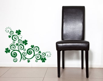 Corner Decal, Ireland Decor, Irish Decor, Four Leaf Clover, 4, St Patricks Day Decorations, Wall Decal, Wall Decor, Home, Office, Dorm Decor