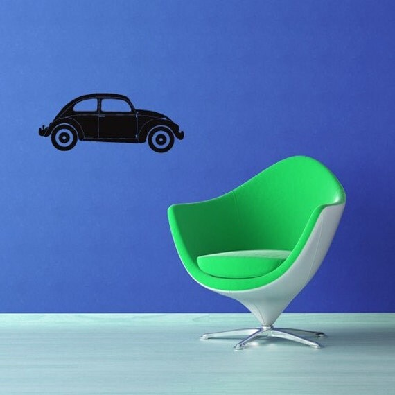 VW Bug, Volkswagen Beetle, Retro Decor, Wall Decal, Tween Room Decor, Kid's Bedroom Decor, Dorm Decor, Wall Art, Home Decor, Beatle Art