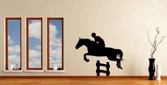 Horse Decor, Steeplechase, Horse Rider, Horse Racing, Fence Jumping, Wall Decal, Equestrian Decor, Home Art, Office, Ranch, Bedroom Decor