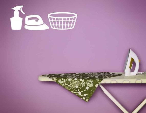 Laundry Room Decor, Laundry Basket, Laundry Decal, Iron, Spray Bottle,  Decal, Sticker, Vinyl, Wall Art, Home Decor, Laundry Room Art,