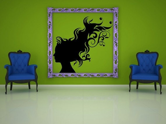 Female Art, Silhouette Designs, Tween Room Decor, Swirl Decals, Girl Decor, Bedroom Decor, Wall Art, Home Decor, Hair, Wind, Windy, Flowing