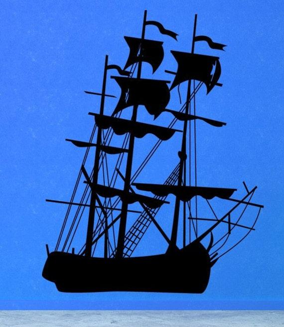 Pirate Ship Wall Decal, Pirate Decal, Pirate Decor, Pirate Ship Art, Pirate Ship Decal, Wall Art, Coastal, Nautical, Ocean, SeaDecor, Home