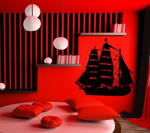 Pirates of the Caribbean, Pirate Ship Wall Decal, Pirate Decor, Pirate Decal, Pirate Ship Art, Pirate Ship Decal, Wall Art, Kids Room Decor