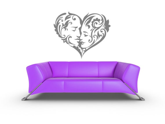 Heart Decor, Girlfriend Gifts, Wedding Gifts, Anniversary, Wall Decal, Romantic Decor, Heart Decal, Valentine's Day, Kiss, Kissing, Home Art