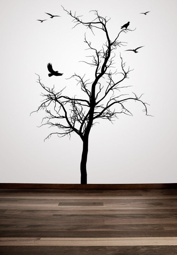 Winter Tree, Tree Wall Decal, Bird, Flock of Birds, Branches, Bare Branch Decor, Lone Tree Artwork, Hawk Flying, Home Art, Housewares, Cold
