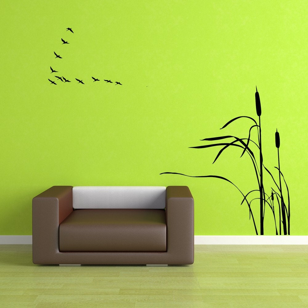 Wall Pictures For Home birds flying in a v cattails cattail artwork hunting decor