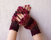 Gloves Fingerless Arm warmers Knit fingerless mittens Crochet gloves Ladies fingerless Burgundy Brown Womens winter gloves Driving gloves