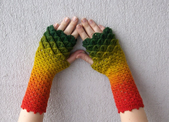 Fingerless gloves Crochet mittens cute arm warmers spring accessory - Rainbow multicolored dragon scale gloves Autumn mittens Winter gloves