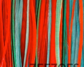 Pet (Or SHORT HAIR) All Solid Orange/Turquoise/Red 5 Feather Hair Extension - Salon Grade