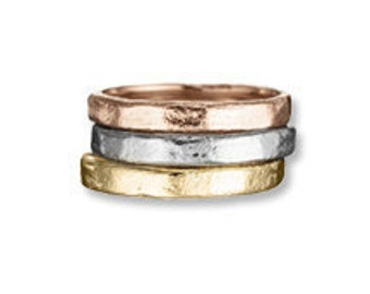 3mm 14k gold Bands Sculpted recycled metal.  White, Yellow, Rose & Green Gold. stacking rings .wedding rings, rose gold, yellow gold, white