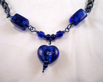 Fun & Fabulous Blue Chain and Glass Bead Heart Necklace