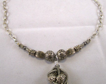 Swirls of Silver Coils & Beads Necklace