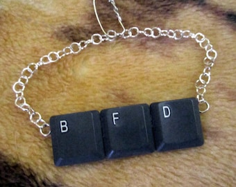 BFD Tie Bar or Pendant - Repurposed Upcycled Computer Keyboard Keys
