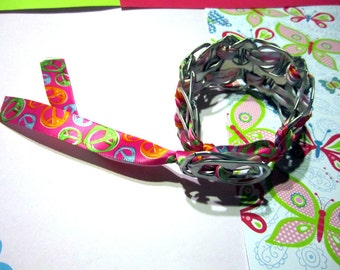 100% spcaLA Donation Item  - Neon Peace Sign Upcycled Pop-Top Bracelet - NO coupon codes for donation items