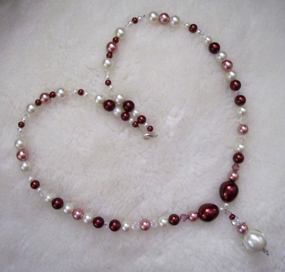 RESERVED for DONNA B - Burgundy, Pink and White Glass Pearl Necklace, Charm Bracelet and Earrings Set